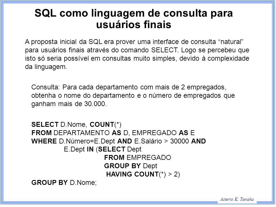 SQL como linguagem de consulta para usuários finais