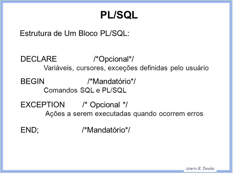 PL/SQL Estrutura de Um Bloco PL/SQL: DECLARE /*Opcional*/