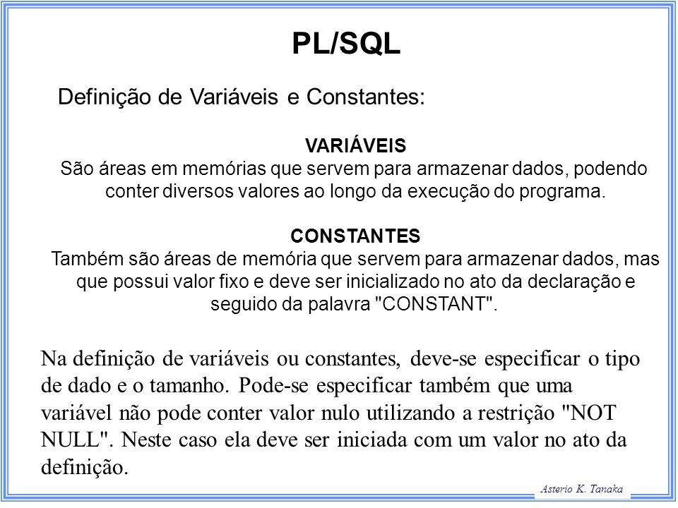 PL/SQL Definição de Variáveis e Constantes: