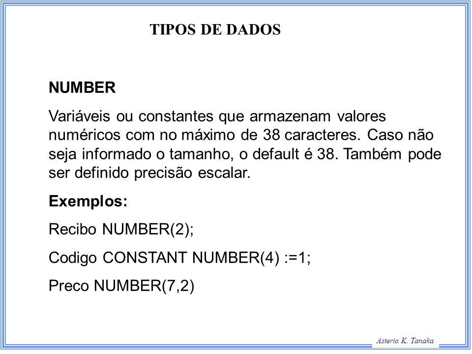 TIPOS DE DADOS NUMBER.