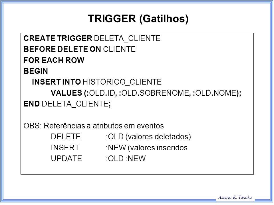 TRIGGER (Gatilhos) CREATE TRIGGER DELETA_CLIENTE