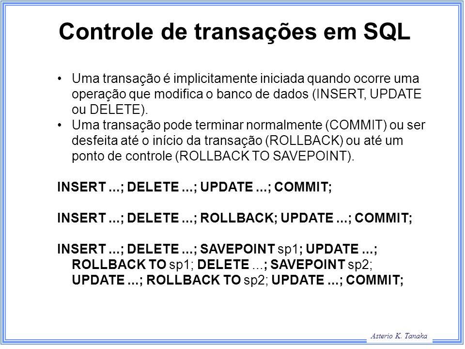 Controle de transações em SQL