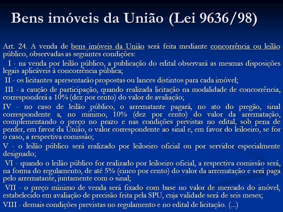Bens imóveis da União (Lei 9636/98)