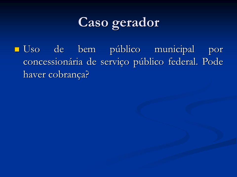 Caso gerador Uso de bem público municipal por concessionária de serviço público federal.