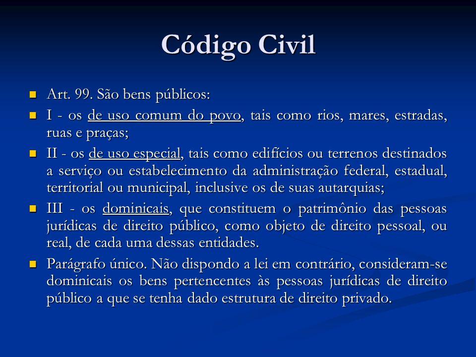 Código Civil Art. 99. São bens públicos: