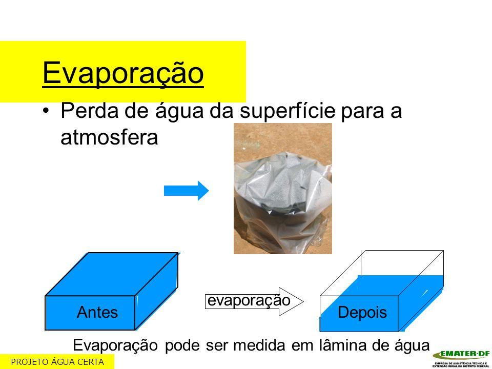 Evaporação pode ser medida em lâmina de água
