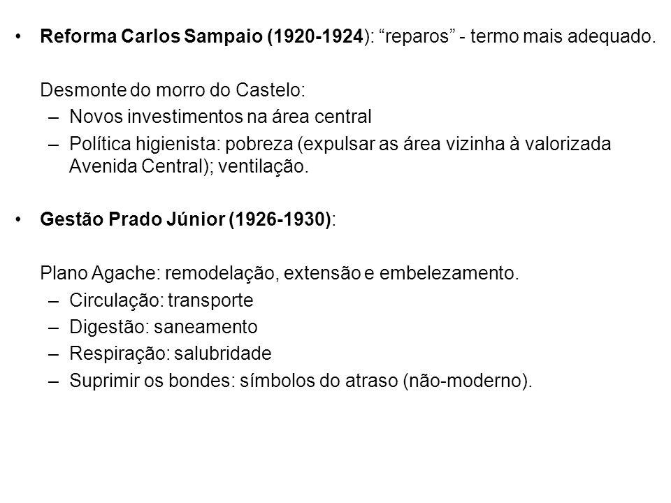 Reforma Carlos Sampaio (1920-1924): reparos - termo mais adequado.
