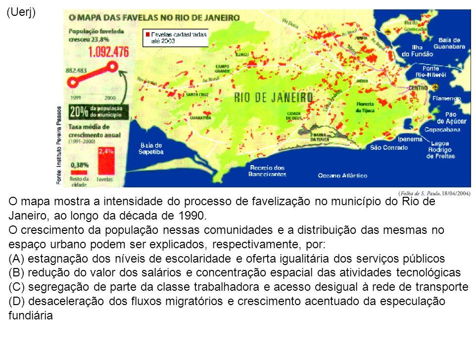 (Uerj) O mapa mostra a intensidade do processo de favelização no município do Rio de Janeiro, ao longo da década de 1990.