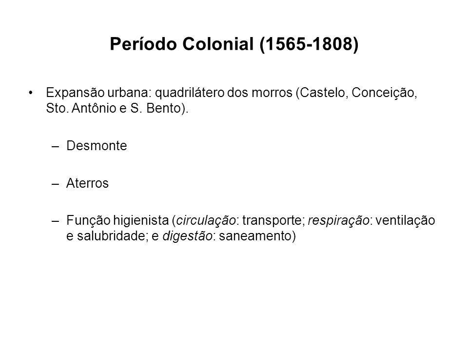Período Colonial (1565-1808) Expansão urbana: quadrilátero dos morros (Castelo, Conceição, Sto. Antônio e S. Bento).