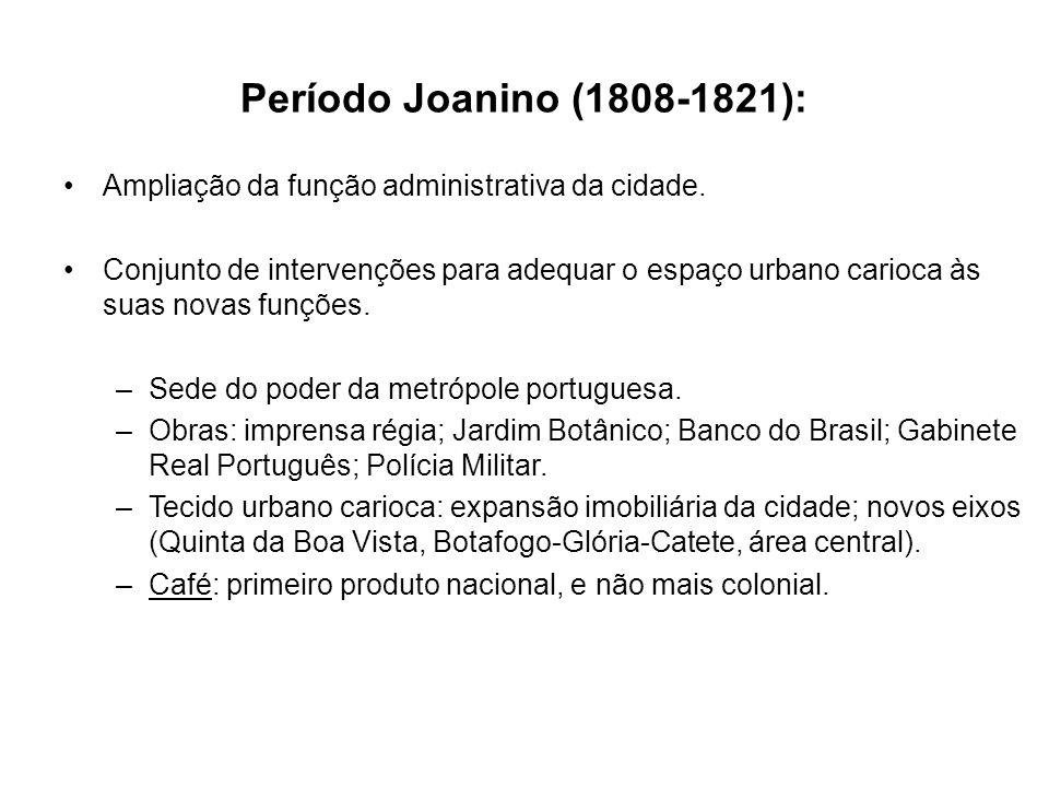 Período Joanino (1808-1821): Ampliação da função administrativa da cidade.