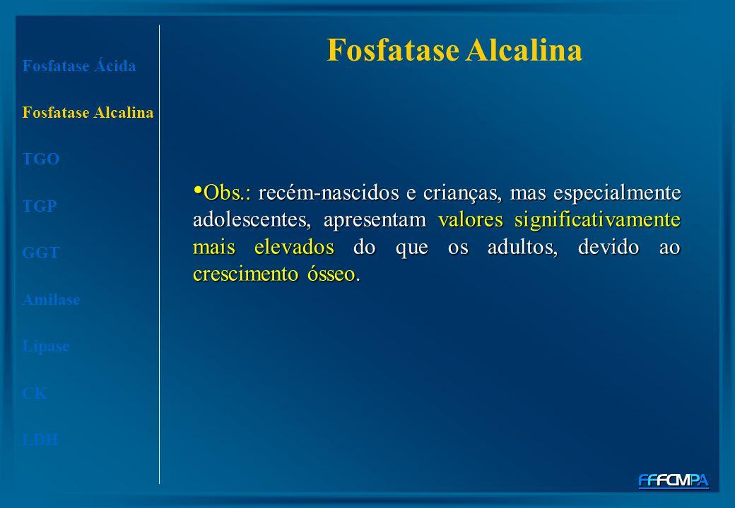 Fosfatase Alcalina Fosfatase Ácida. Fosfatase Alcalina. TGO. TGP. GGT. Amilase. Lipase. CK. LDH.
