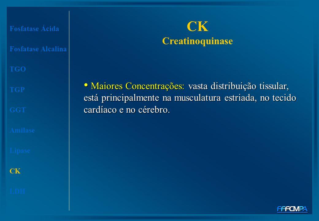 CK Creatinoquinase Fosfatase Ácida. Fosfatase Alcalina. TGO.