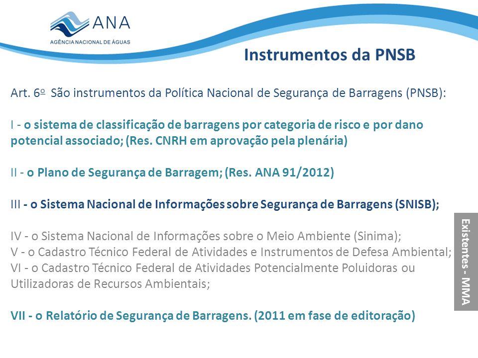 Instrumentos da PNSB Art. 6o São instrumentos da Política Nacional de Segurança de Barragens (PNSB):