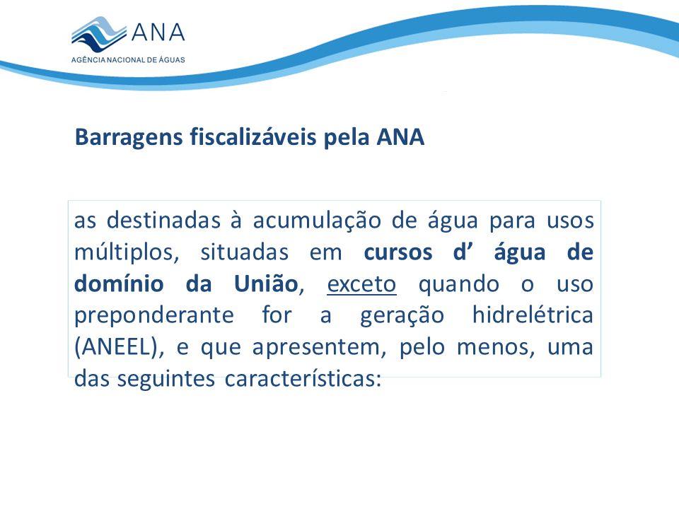 Barragens fiscalizáveis pela ANA