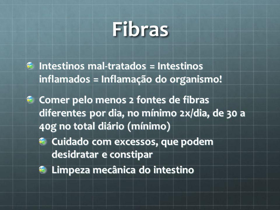 Fibras Intestinos mal-tratados = Intestinos inflamados = Inflamação do organismo!