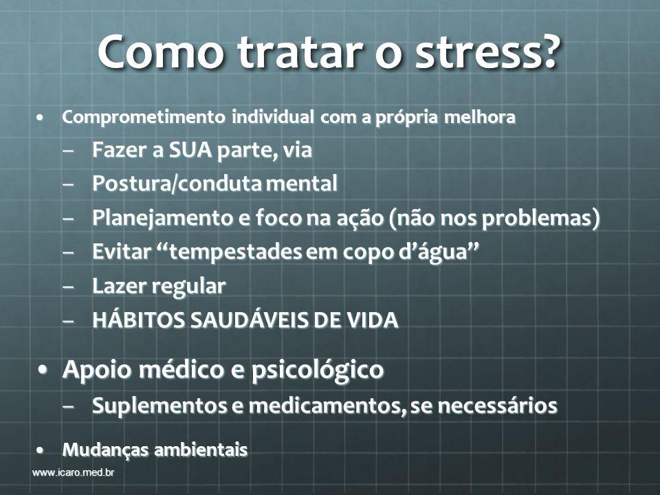 Como tratar o stress Apoio médico e psicológico