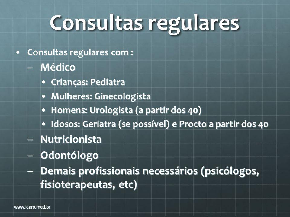 Consultas regulares Médico Nutricionista Odontólogo