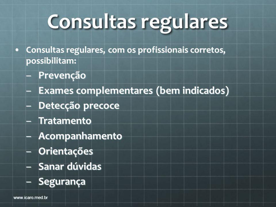 Consultas regulares Prevenção Exames complementares (bem indicados)
