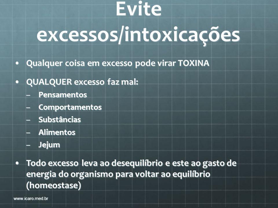 Evite excessos/intoxicações