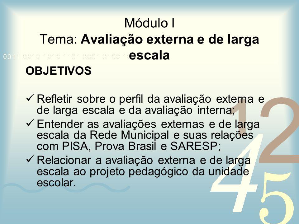 Módulo I Tema: Avaliação externa e de larga escala