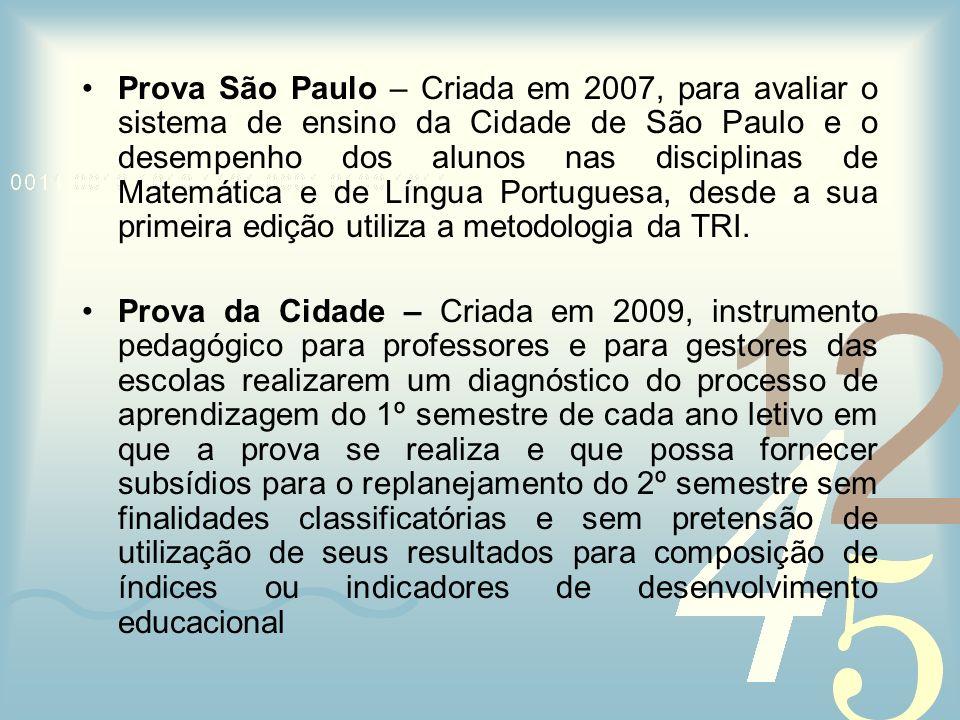 Prova São Paulo – Criada em 2007, para avaliar o sistema de ensino da Cidade de São Paulo e o desempenho dos alunos nas disciplinas de Matemática e de Língua Portuguesa, desde a sua primeira edição utiliza a metodologia da TRI.