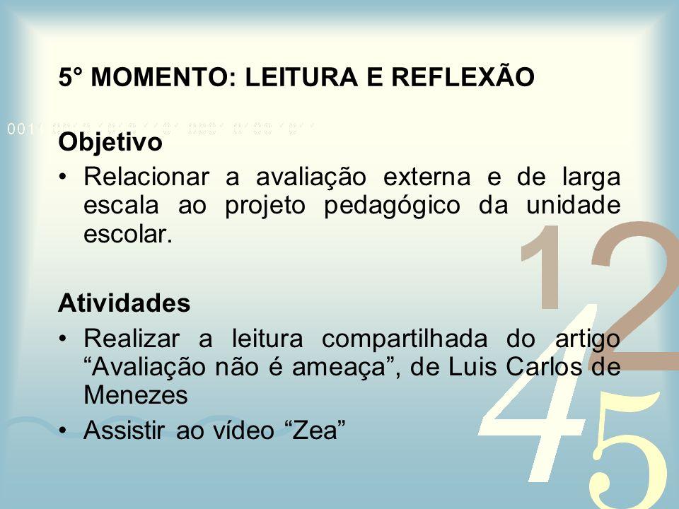 5° MOMENTO: LEITURA E REFLEXÃO