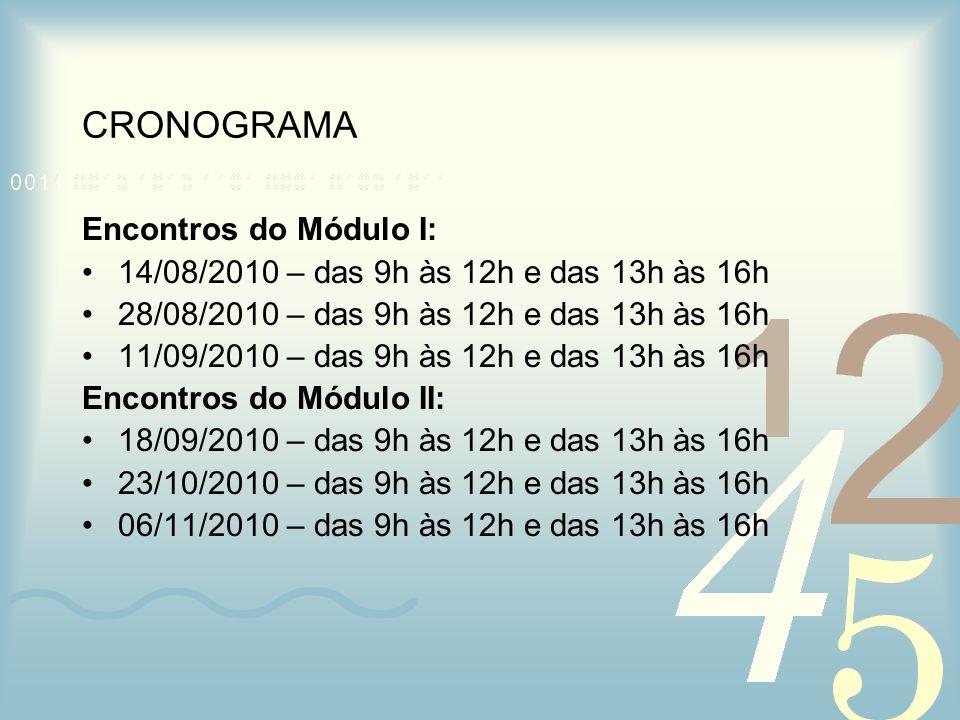 CRONOGRAMA Encontros do Módulo I: