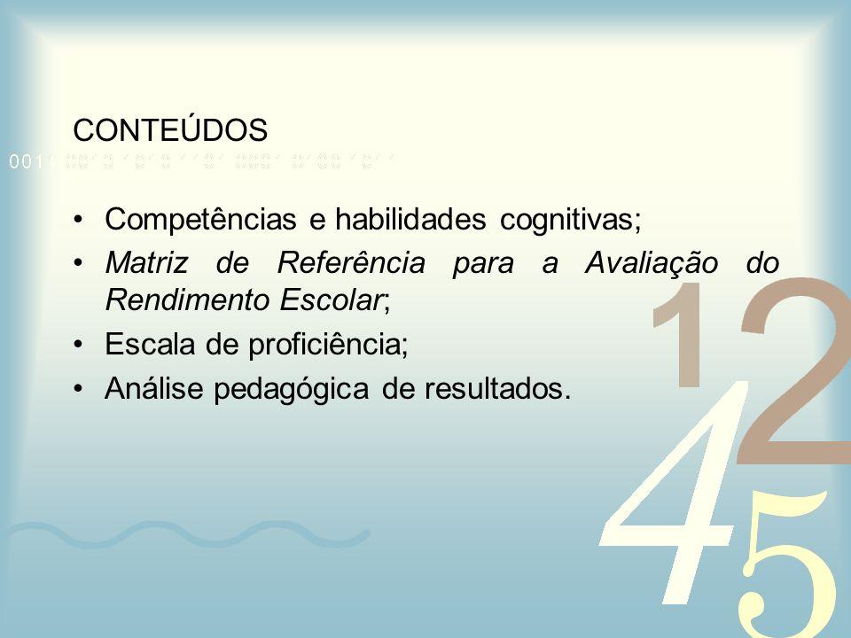 CONTEÚDOS Competências e habilidades cognitivas; Matriz de Referência para a Avaliação do Rendimento Escolar;