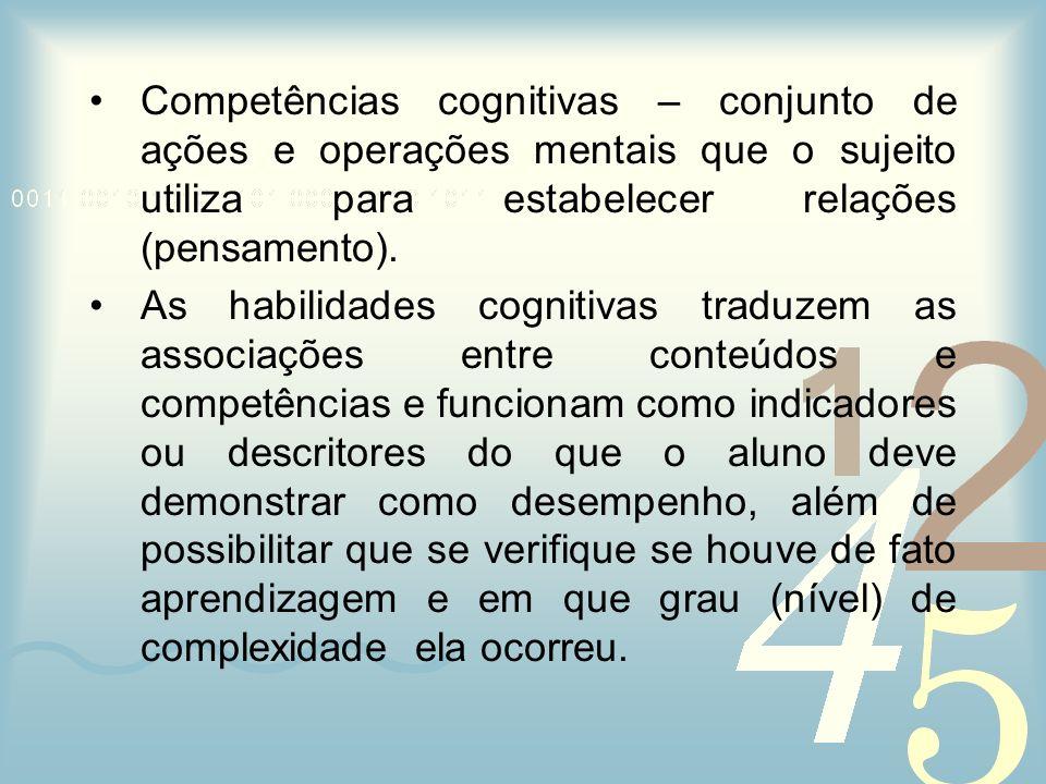 Competências cognitivas – conjunto de ações e operações mentais que o sujeito utiliza para estabelecer relações (pensamento).