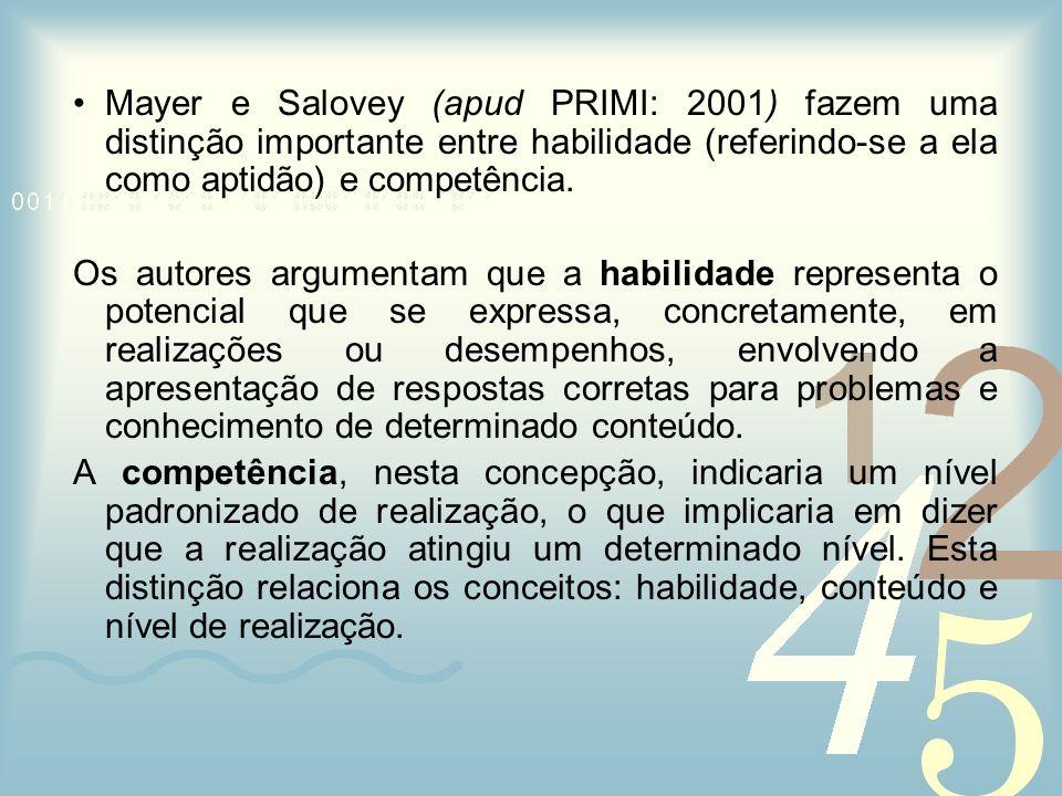 Mayer e Salovey (apud PRIMI: 2001) fazem uma distinção importante entre habilidade (referindo-se a ela como aptidão) e competência.