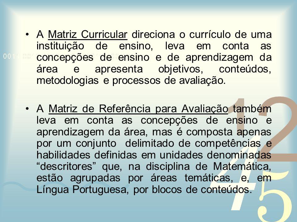 A Matriz Curricular direciona o currículo de uma instituição de ensino, leva em conta as concepções de ensino e de aprendizagem da área e apresenta objetivos, conteúdos, metodologias e processos de avaliação.