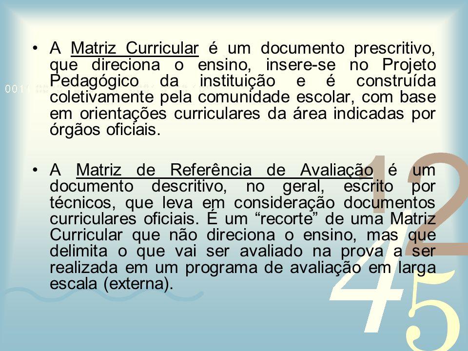 A Matriz Curricular é um documento prescritivo, que direciona o ensino, insere-se no Projeto Pedagógico da instituição e é construída coletivamente pela comunidade escolar, com base em orientações curriculares da área indicadas por órgãos oficiais.