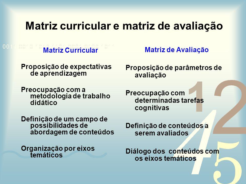 Matriz curricular e matriz de avaliação
