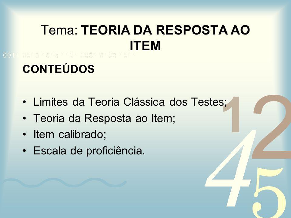 Tema: TEORIA DA RESPOSTA AO ITEM