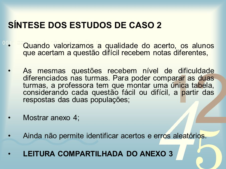 SÍNTESE DOS ESTUDOS DE CASO 2