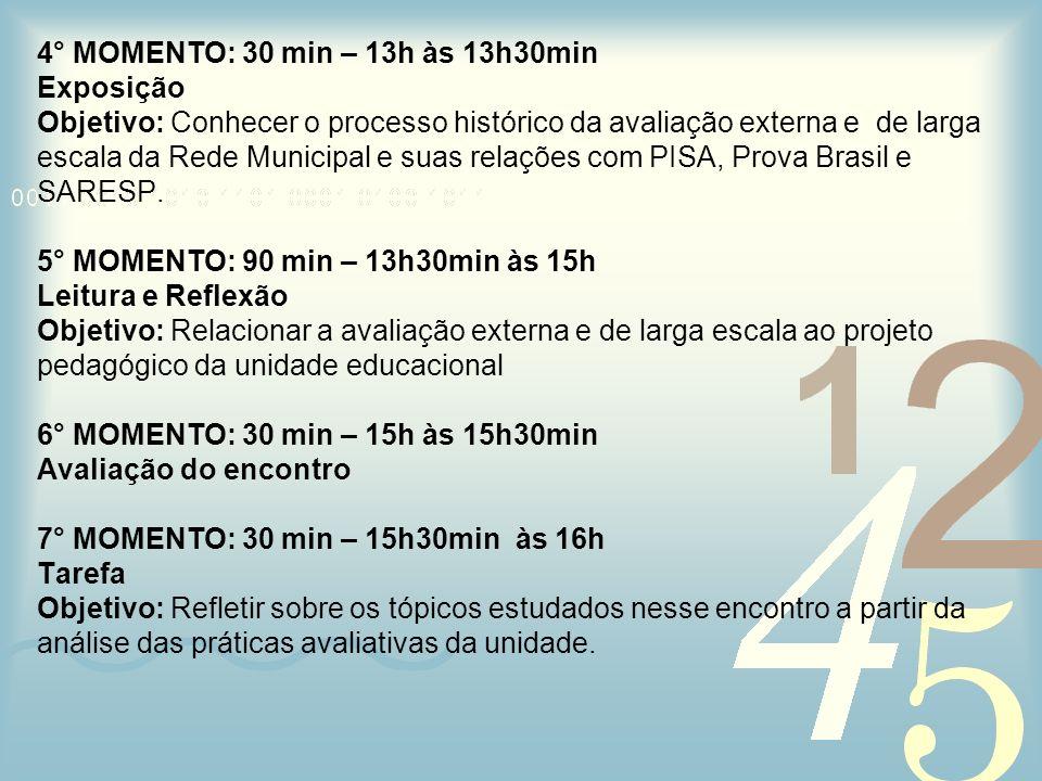 4° MOMENTO: 30 min – 13h às 13h30min Exposição Objetivo: Conhecer o processo histórico da avaliação externa e de larga escala da Rede Municipal e suas relações com PISA, Prova Brasil e SARESP.
