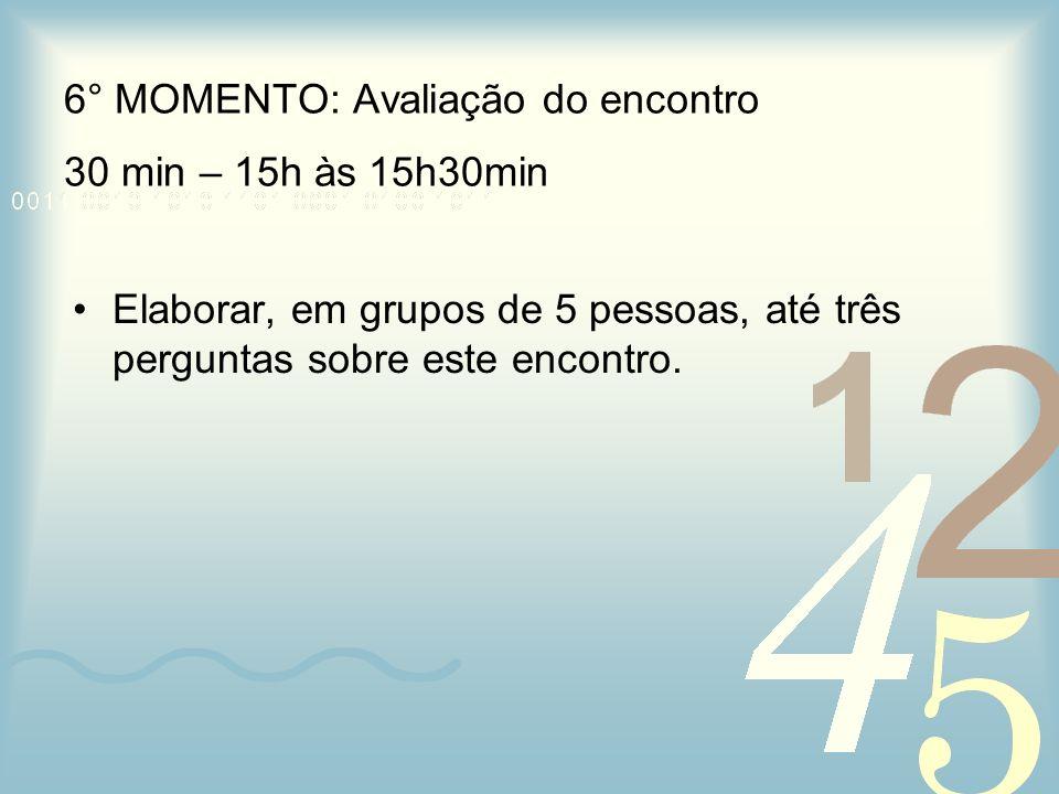 6° MOMENTO: Avaliação do encontro 30 min – 15h às 15h30min