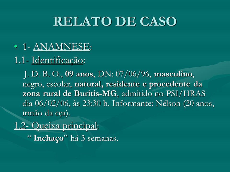 RELATO DE CASO 1- ANAMNESE: 1.1- Identificação:
