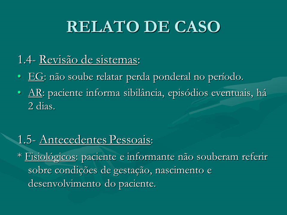 RELATO DE CASO 1.4- Revisão de sistemas: 1.5- Antecedentes Pessoais: