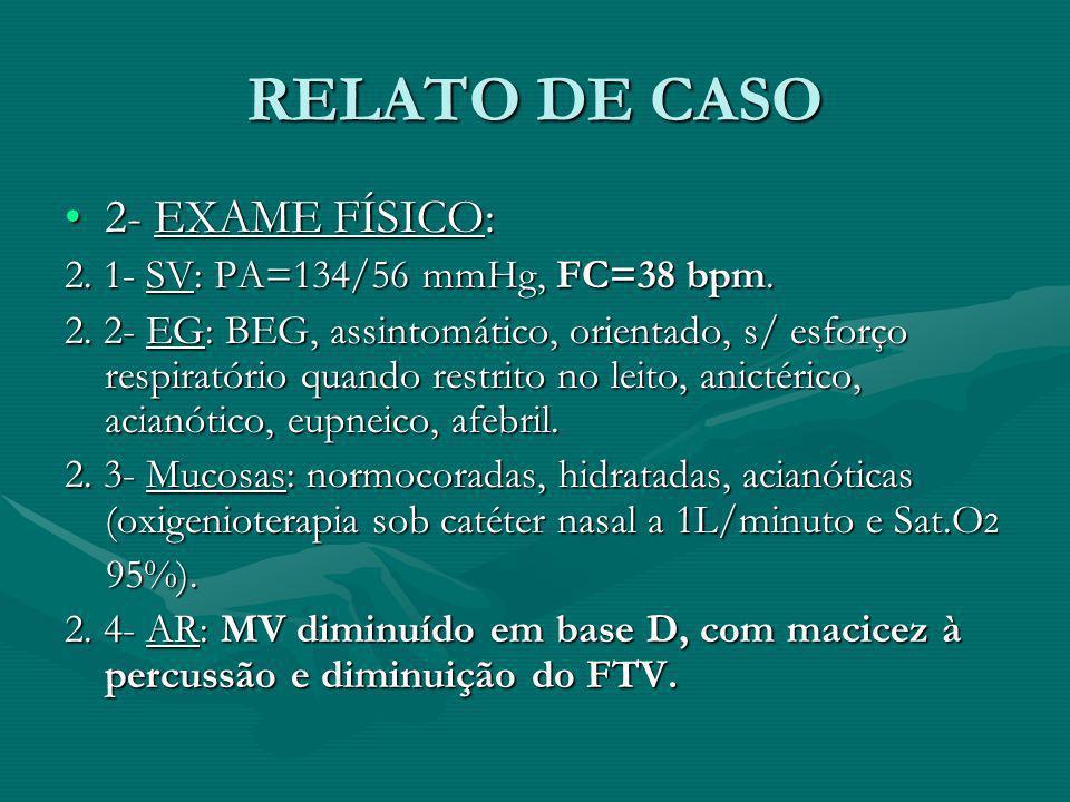 RELATO DE CASO 2- EXAME FÍSICO: 2. 1- SV: PA=134/56 mmHg, FC=38 bpm.