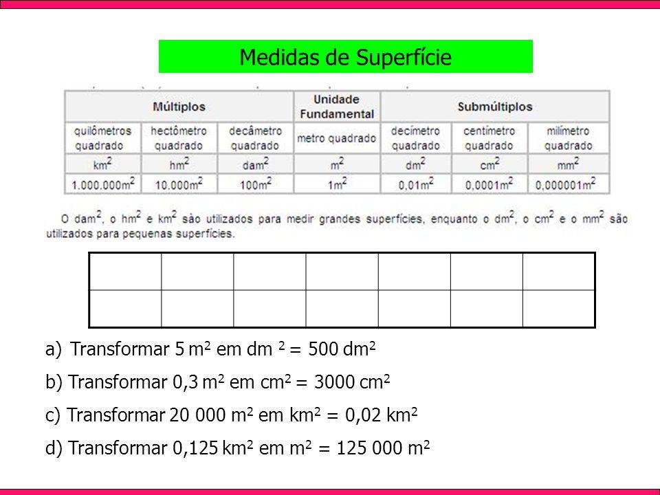 Medidas de Superfície Transformar 5 m2 em dm 2 = 500 dm2