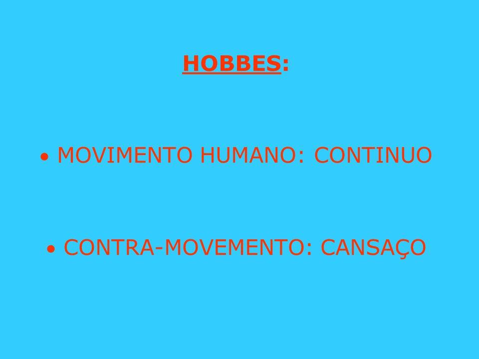 HOBBES:  MOVIMENTO HUMANO: CONTINUO  CONTRA-MOVEMENTO: CANSAÇO