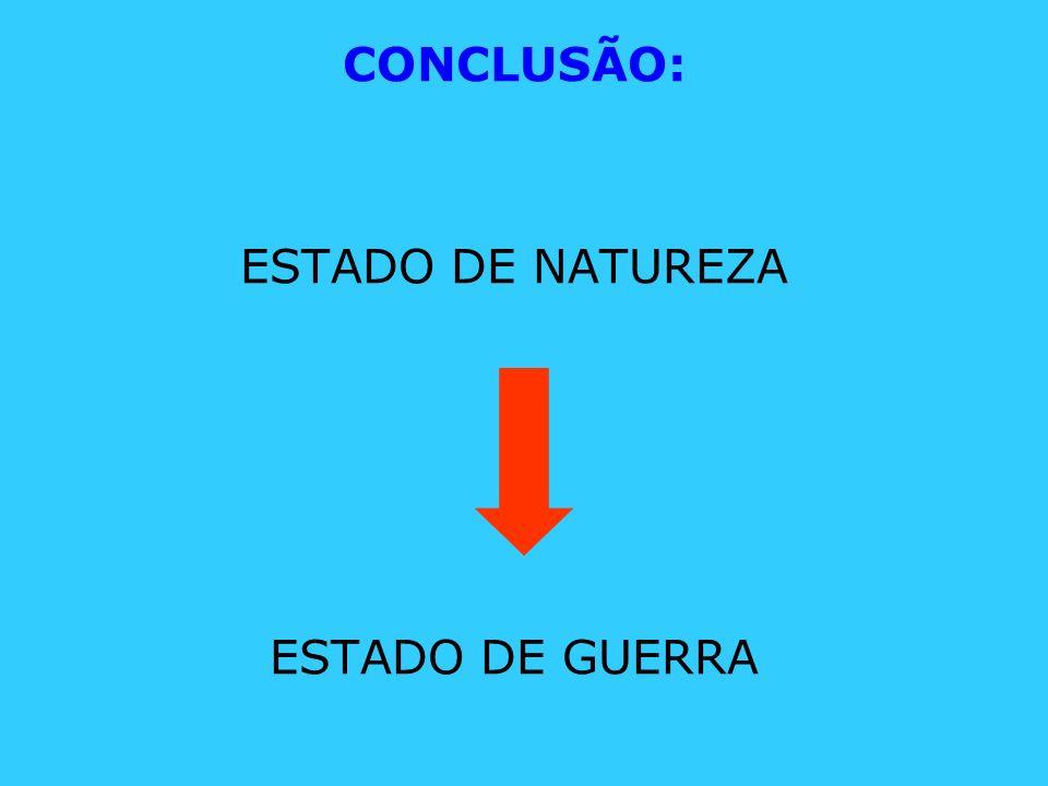CONCLUSÃO: ESTADO DE NATUREZA ESTADO DE GUERRA