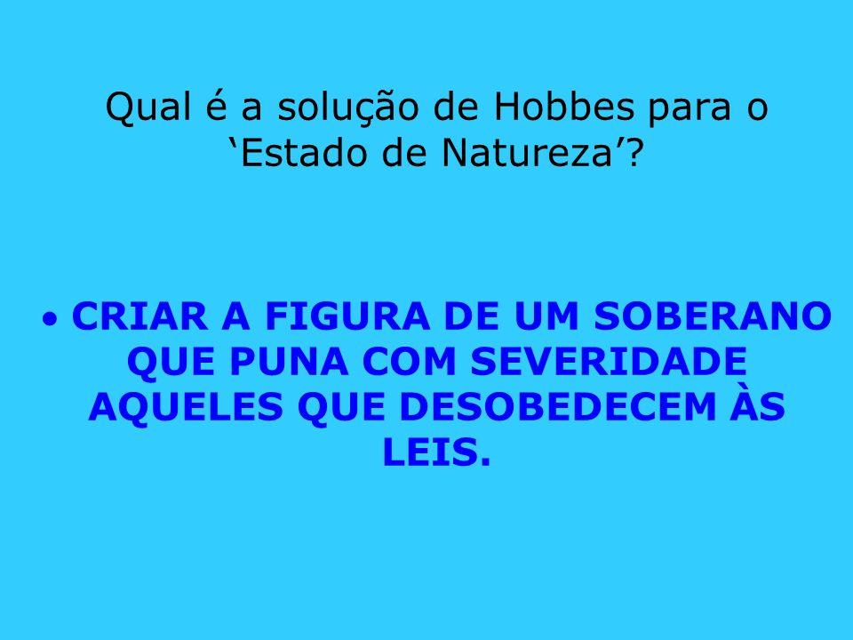 Qual é a solução de Hobbes para o 'Estado de Natureza'