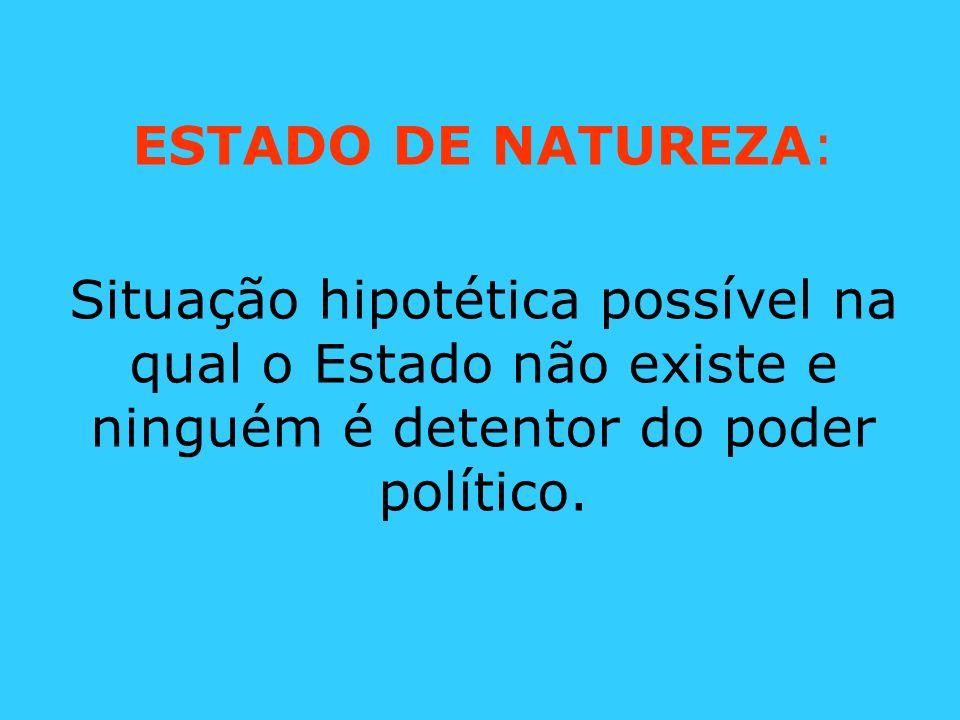 ESTADO DE NATUREZA:Situação hipotética possível na qual o Estado não existe e ninguém é detentor do poder político.