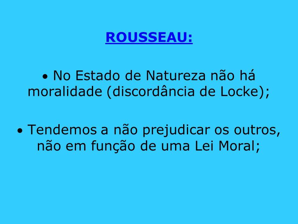  No Estado de Natureza não há moralidade (discordância de Locke);