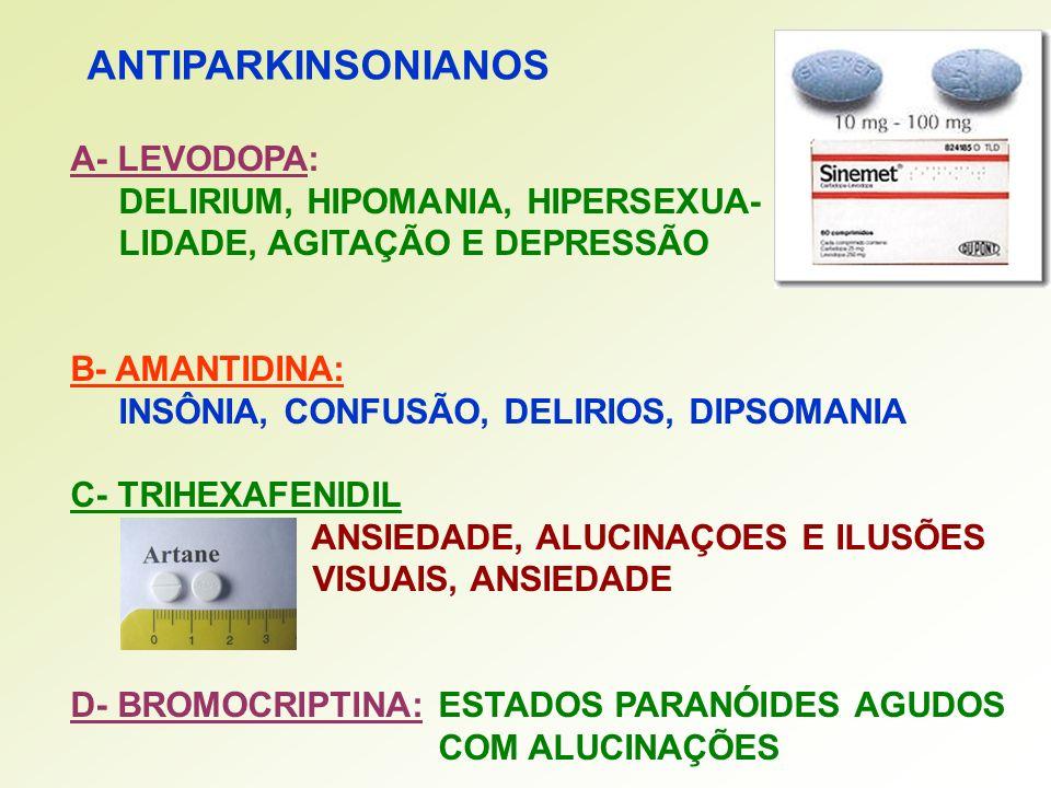 ANTIPARKINSONIANOS A- LEVODOPA: DELIRIUM, HIPOMANIA, HIPERSEXUA-
