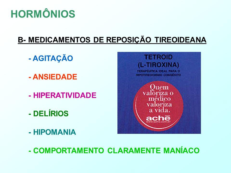 HORMÔNIOS B- MEDICAMENTOS DE REPOSIÇÃO TIREOIDEANA - AGITAÇÃO