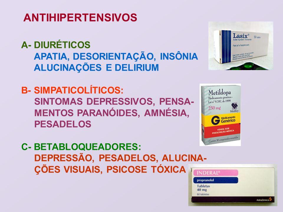 ANTIHIPERTENSIVOS A- DIURÉTICOS APATIA, DESORIENTAÇÃO, INSÔNIA