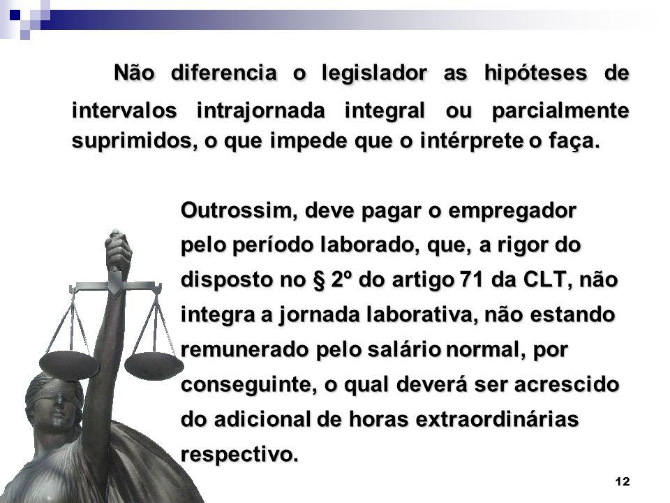 Não diferencia o legislador as hipóteses de intervalos intrajornada integral ou parcialmente suprimidos, o que impede que o intérprete o faça.